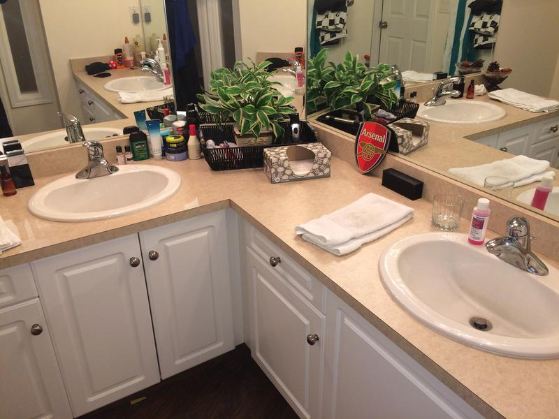 "Two of the lads share ""his and hers"" sinks (awwwww). Guess who. (Hint: they lived together last year with Moose)."