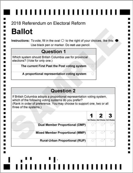 Voting Ballot - BC Referendum 2018