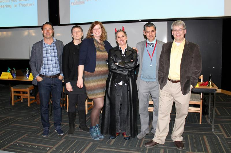 (Left to Right) Dr. Michael Woodworth (Psychology), Denise Kenney (Theater), Dr. Christine Schreyer (Anthropology), Dr. Marianne Legault (Devil's Advocate), Dr. Ray Taheri (Engineering), Dr. Stephen McNeil (Chemistry) - Photo by Andrea Marie Tan