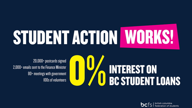 Photo from British Columbia Federation of Student's Facebook page.